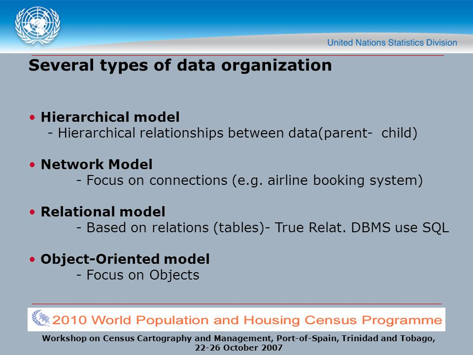 Several types of data organization