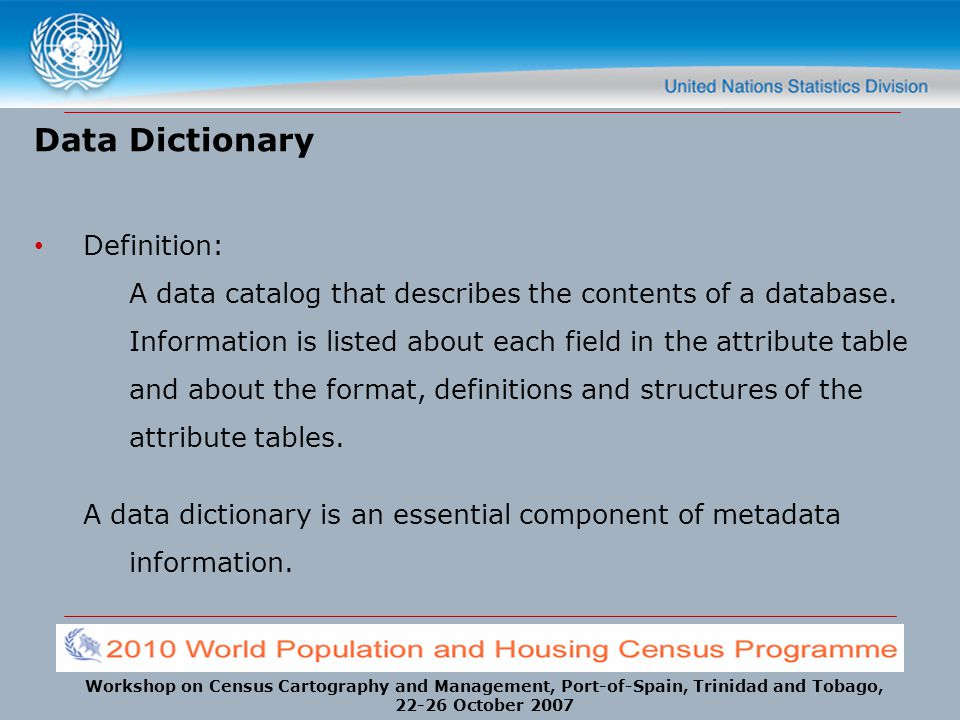 Data Dictionary Definition: