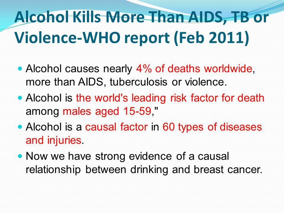 Alcohol Kills More Than AIDS, TB or Violence-WHO report (Feb 2011)