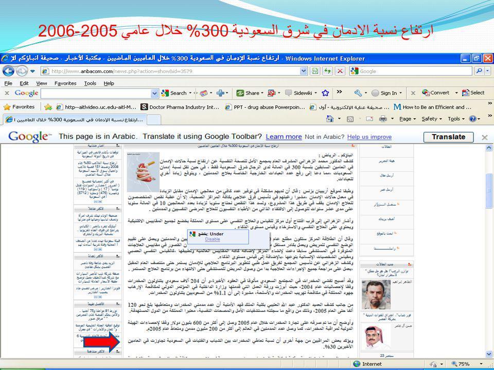 ارتفاع نسبة الادمان في شرق السعودية 300% خلال عامي 2005-2006