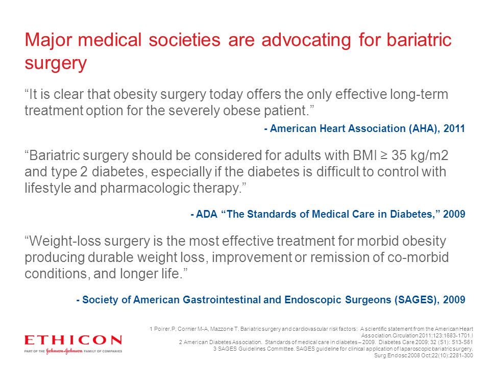 Major medical societies are advocating for bariatric surgery