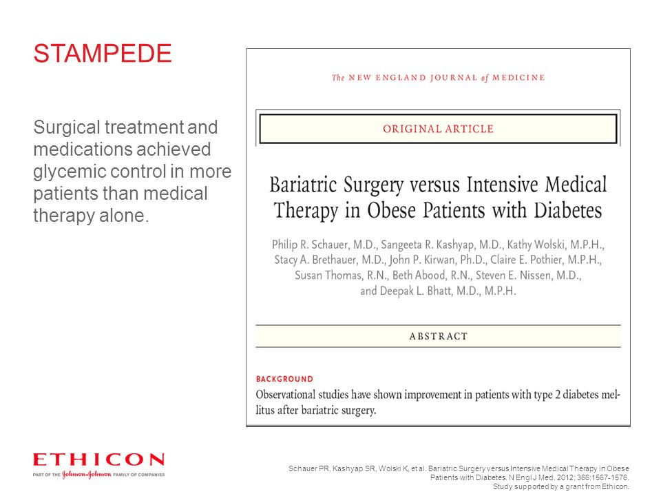 STAMPEDE Surgical treatment and medications achieved glycemic control in more patients than medical therapy alone.