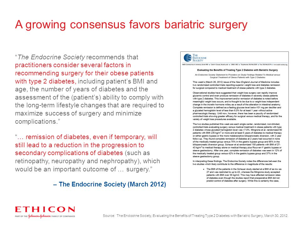 A growing consensus favors bariatric surgery