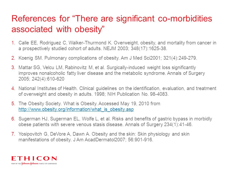 References for There are significant co-morbidities associated with obesity
