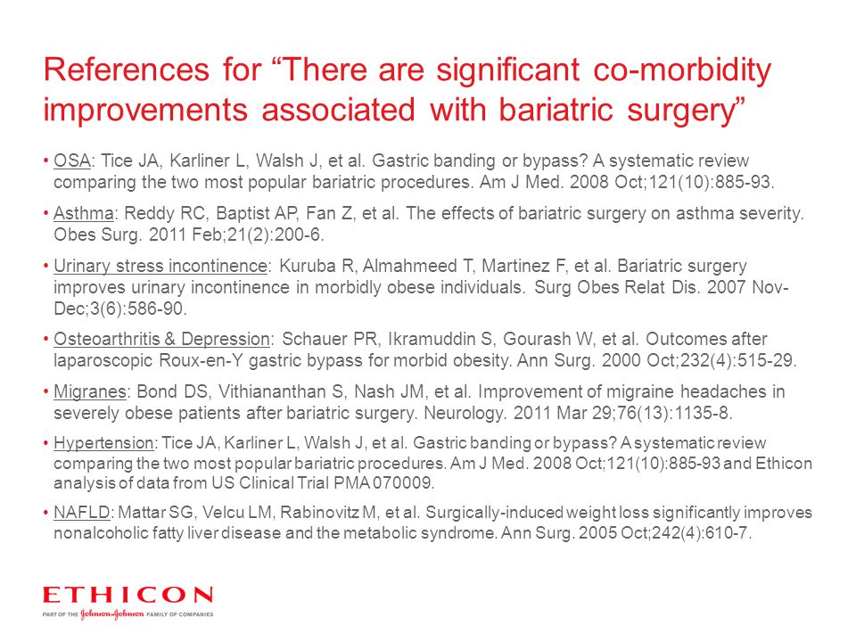 References for There are significant co-morbidity improvements associated with bariatric surgery