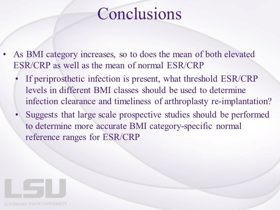 Conclusions As BMI category increases, so to does the mean of both elevated ESR/CRP as well as the mean of normal ESR/CRP.