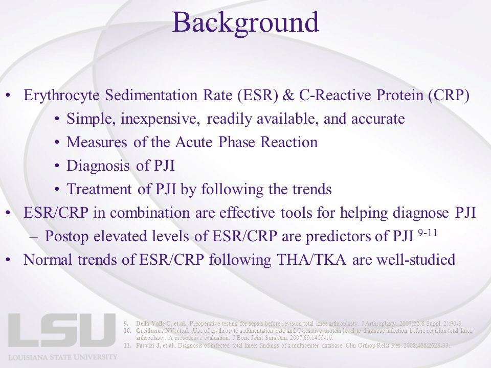 Background Erythrocyte Sedimentation Rate (ESR) & C-Reactive Protein (CRP) Simple, inexpensive, readily available, and accurate.