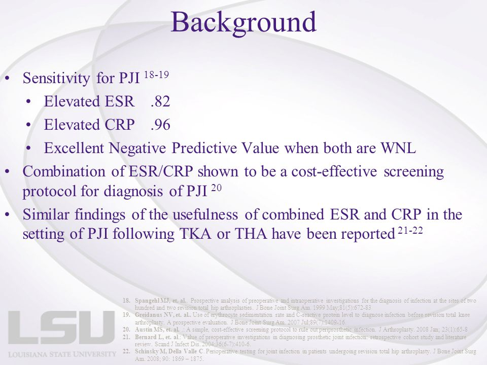 Background Sensitivity for PJI 18-19 Elevated ESR .82 Elevated CRP .96