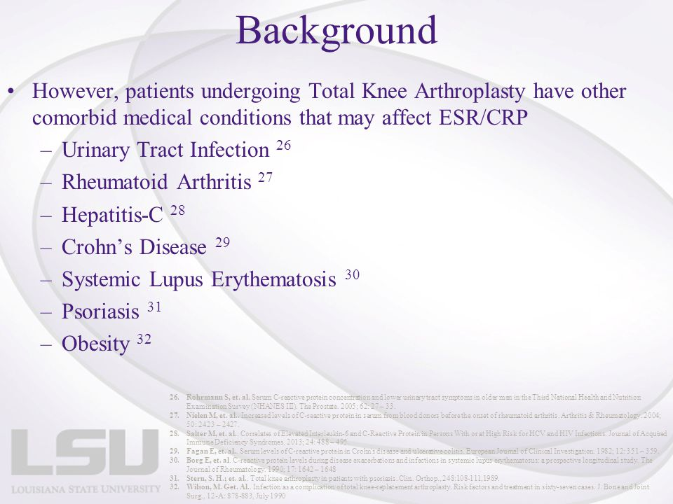Background However, patients undergoing Total Knee Arthroplasty have other comorbid medical conditions that may affect ESR/CRP.
