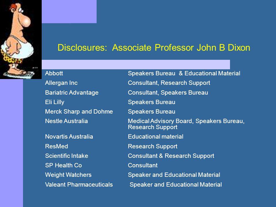 Disclosures: Associate Professor John B Dixon