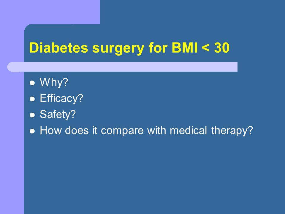 Diabetes surgery for BMI < 30