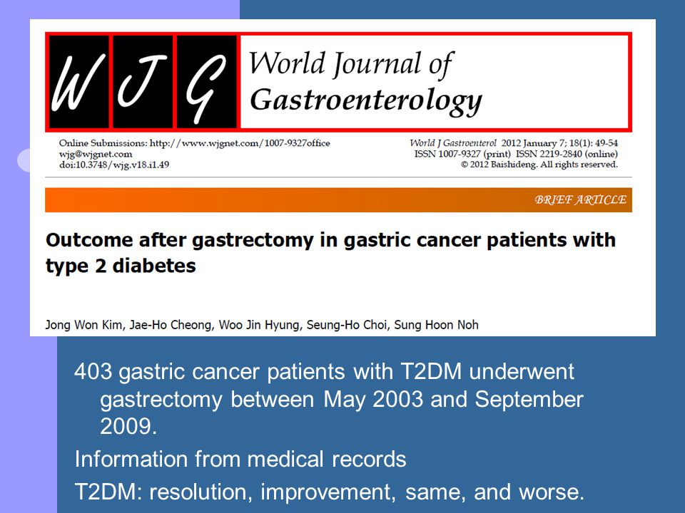 403 gastric cancer patients with T2DM underwent gastrectomy between May 2003 and September 2009.