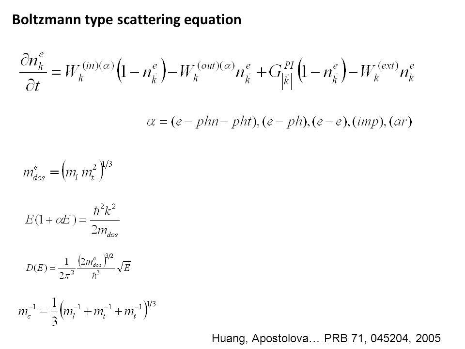 Boltzmann type scattering equation