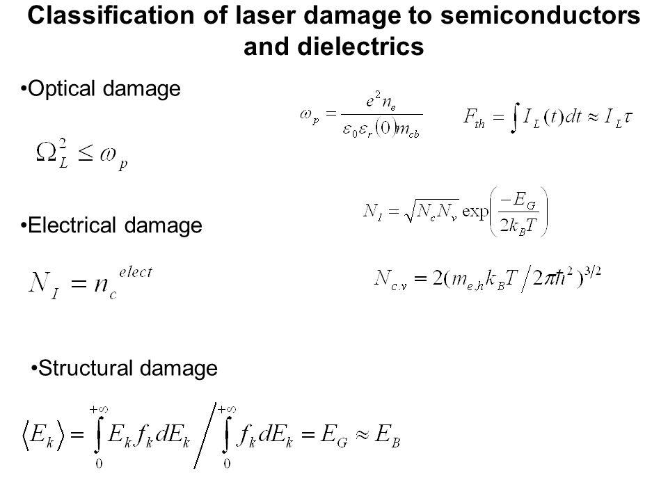 Classification of laser damage to semiconductors and dielectrics