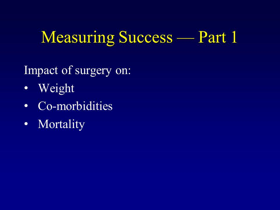 Measuring Success — Part 1