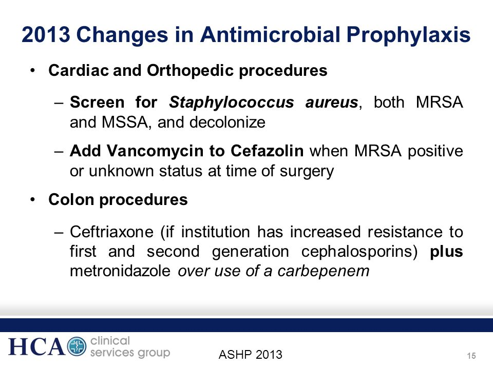 2013 Changes in Antimicrobial Prophylaxis