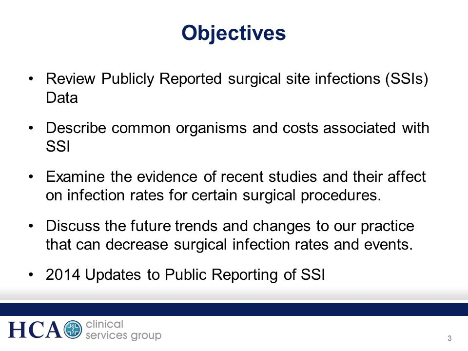 Objectives Review Publicly Reported surgical site infections (SSIs) Data. Describe common organisms and costs associated with SSI.