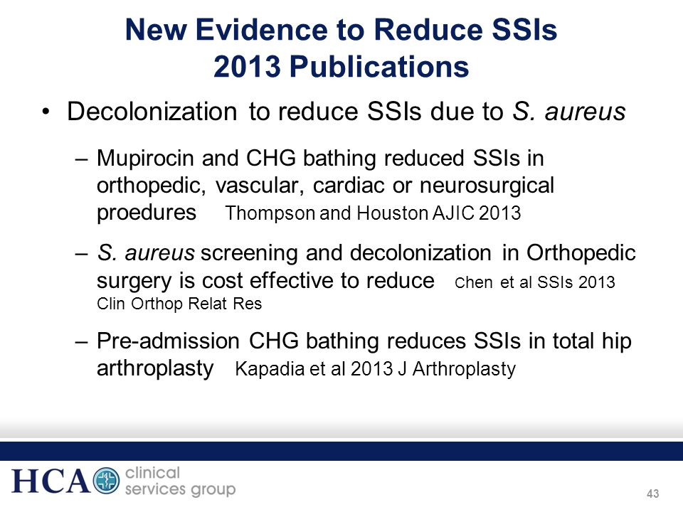 New Evidence to Reduce SSIs 2013 Publications