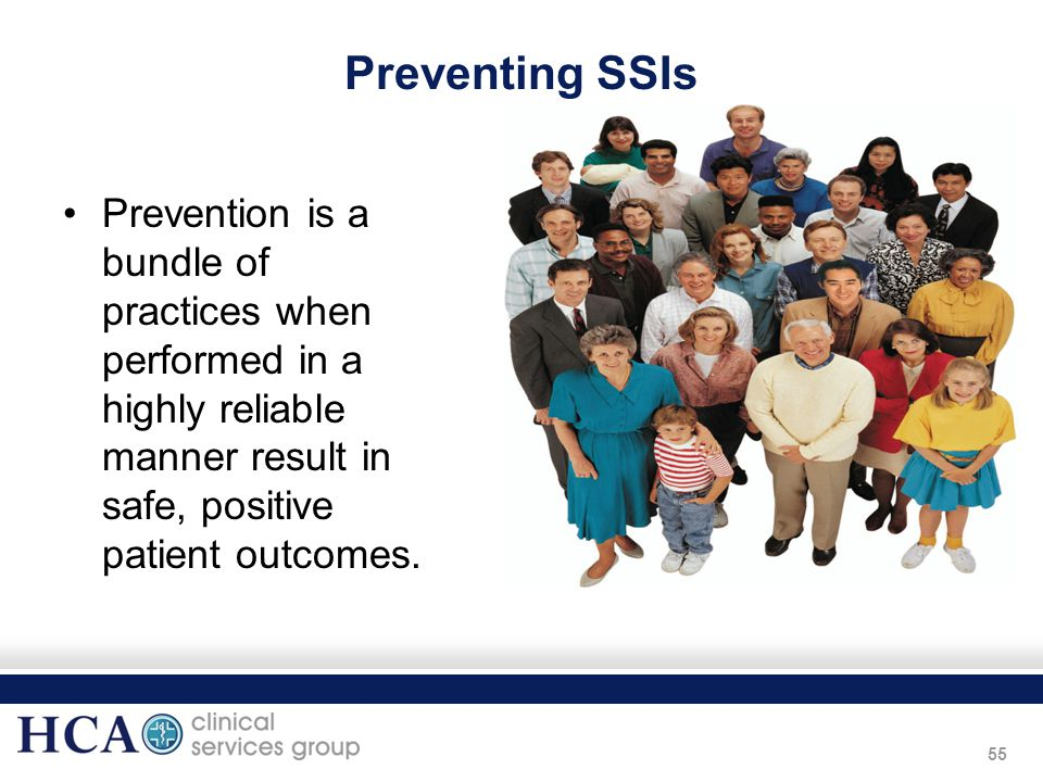 Preventing SSIs Prevention is a bundle of practices when performed in a highly reliable manner result in safe, positive patient outcomes.