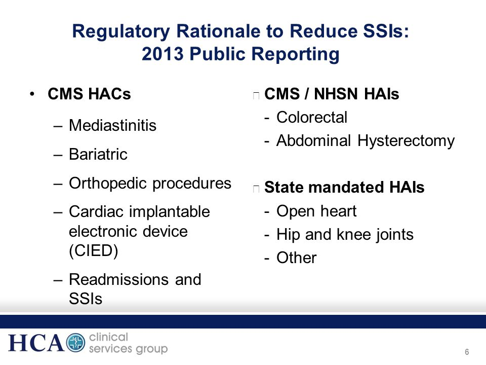 Regulatory Rationale to Reduce SSIs: 2013 Public Reporting