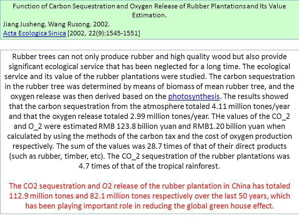 Function of Carbon Sequestration and Oxygen Release of Rubber Plantations and Its Value Estimation.