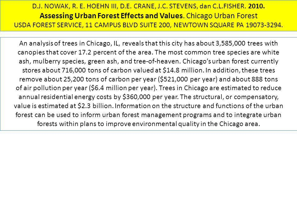 Assessing Urban Forest Effects and Values. Chicago Urban Forest