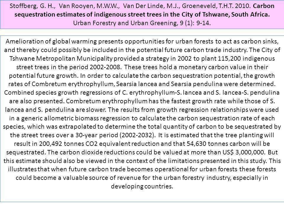 Urban Forestry and Urban Greening, 9 (1): 9-14.
