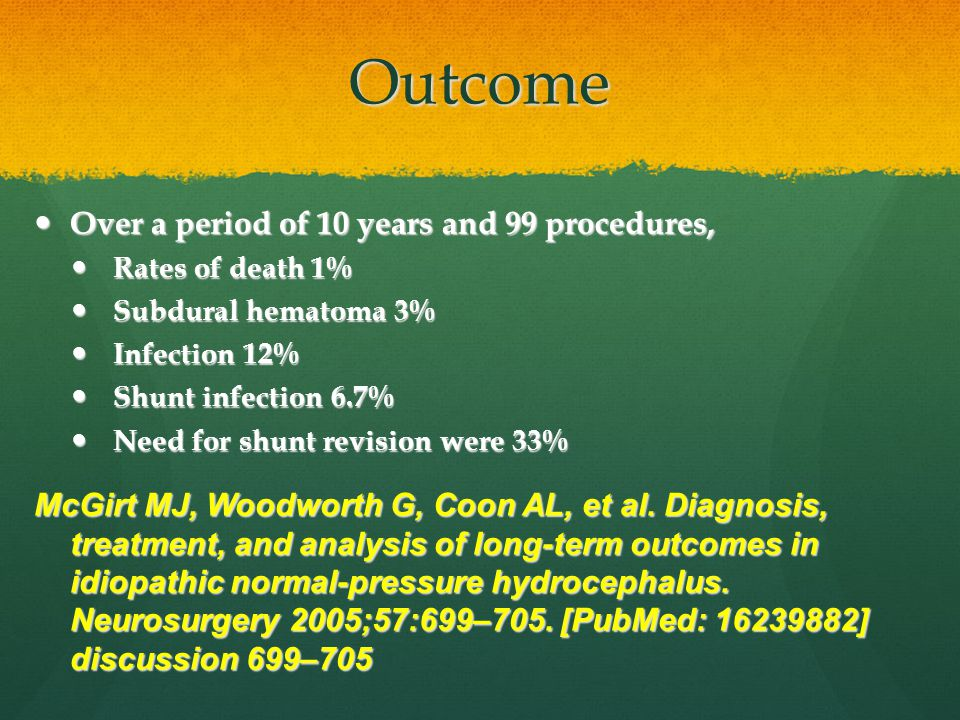 Outcome Over a period of 10 years and 99 procedures,