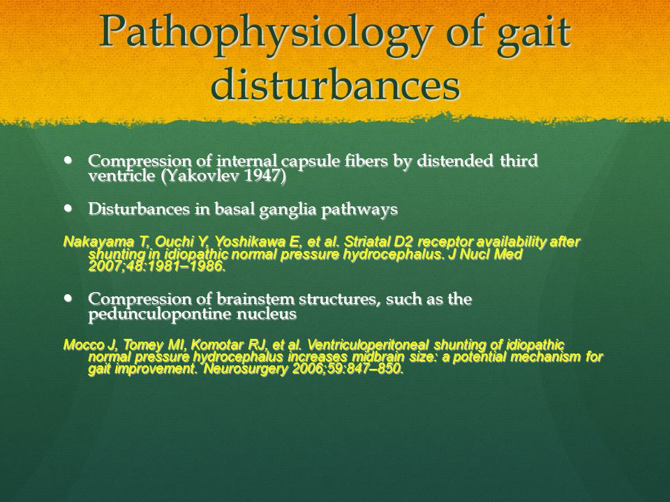 Pathophysiology of gait disturbances