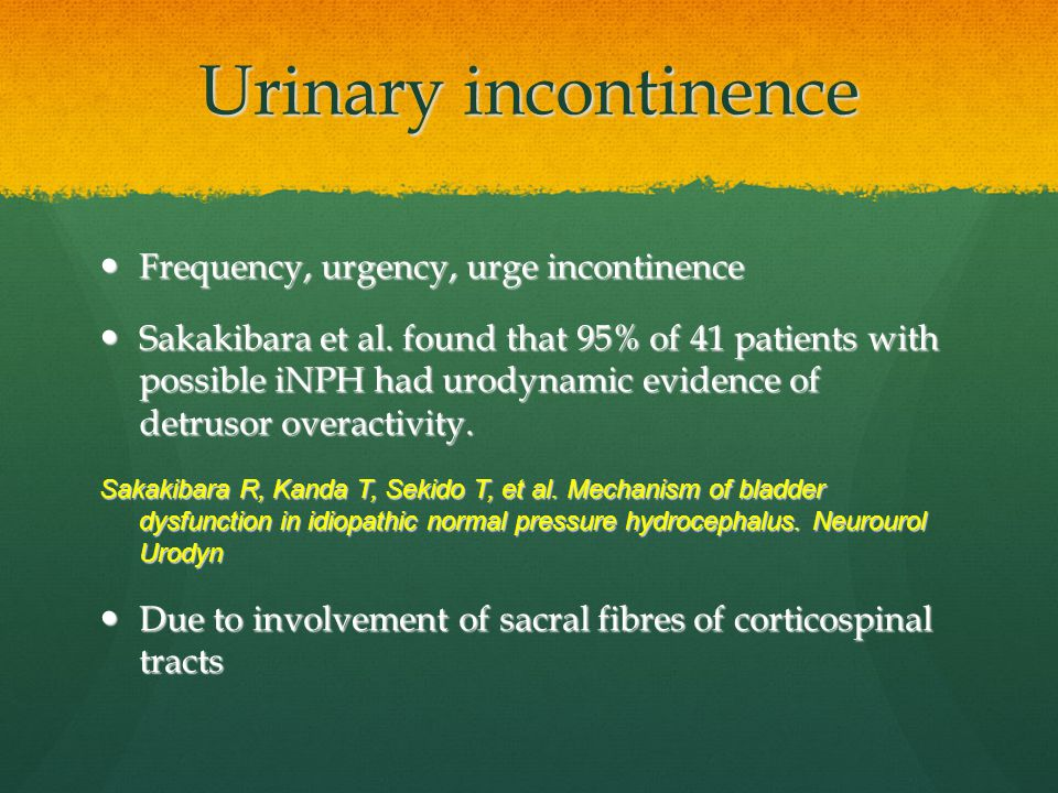 Urinary incontinence Frequency, urgency, urge incontinence