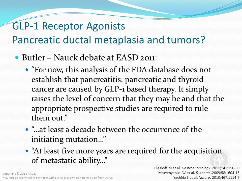 GLP-1 Receptor Agonists Pancreatic ductal metaplasia and tumors