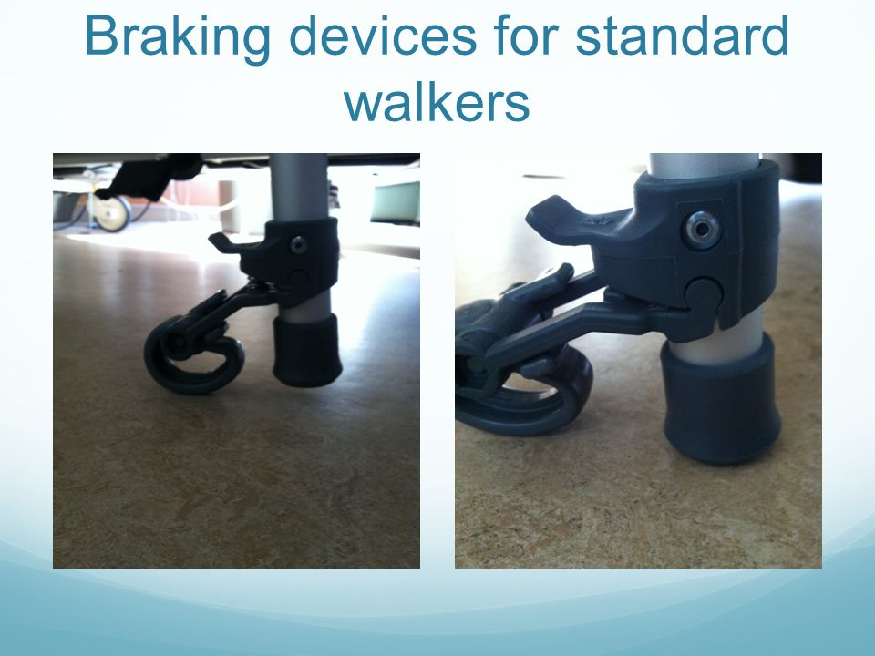 Braking devices for standard walkers