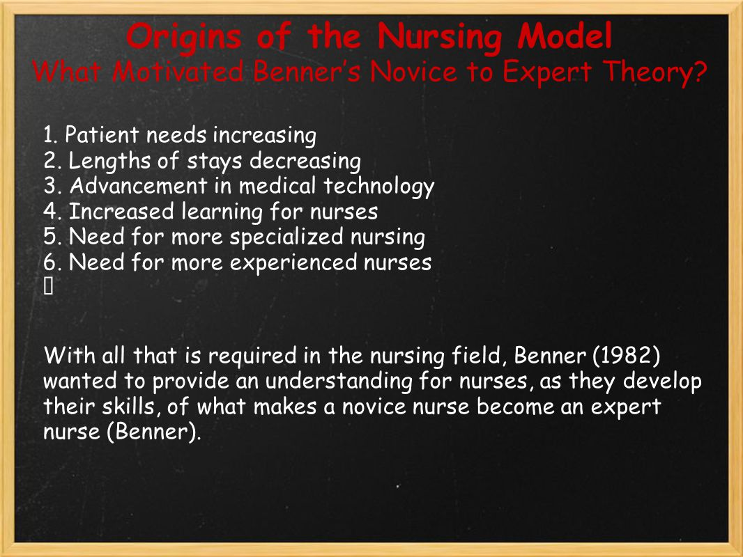 Origins of the Nursing Model What Motivated Benner's Novice to Expert Theory