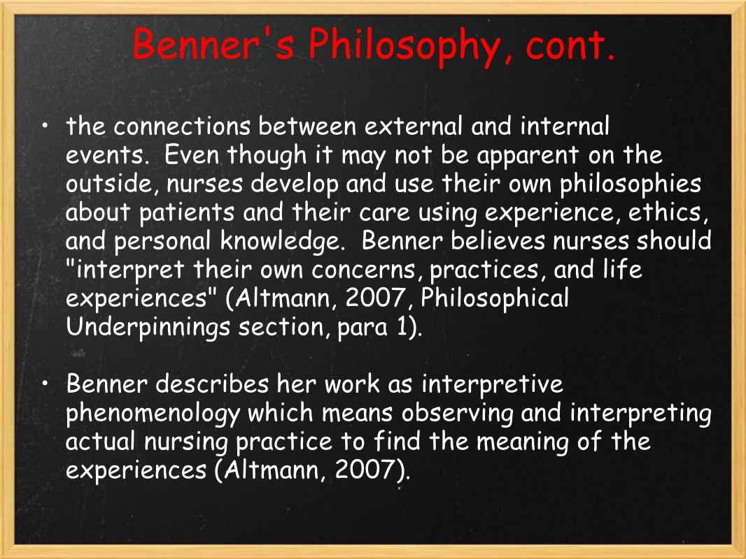 patricia benner and philosophy This item:the primacy of caring: stress and coping in health and illness by patricia benner rn phd paperback $7353 penetrating discussion in benner and wrubel, the primacy of caring, which shows how much philosophy can contribute to a new enframing of instrumental reason of the kind i am discussing here.