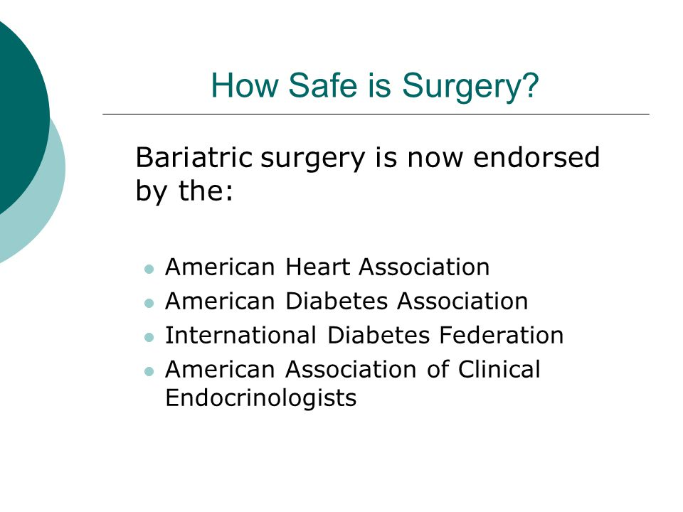 How Safe is Surgery Bariatric surgery is now endorsed by the: