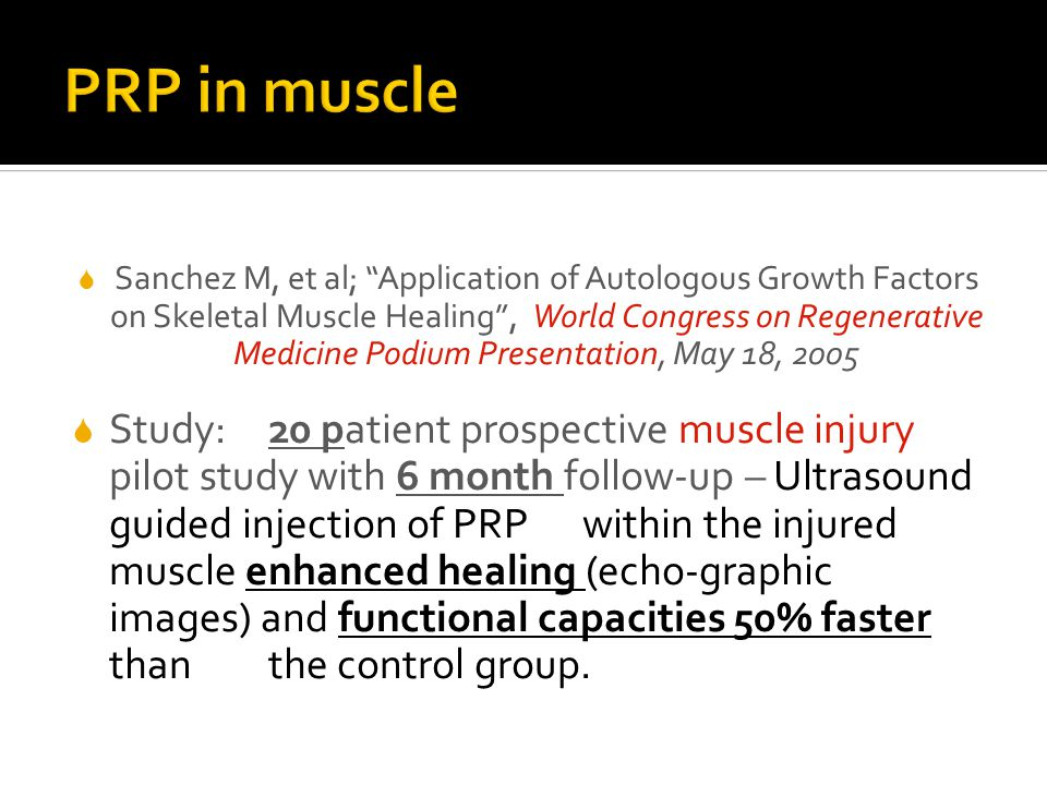 PRP in muscle