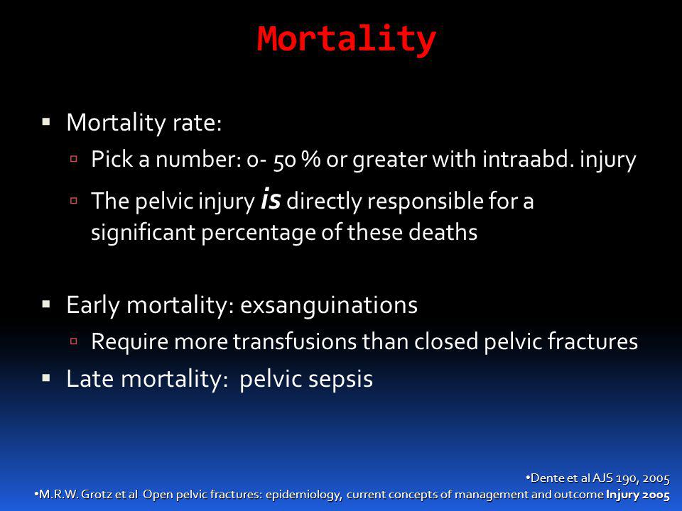 Mortality Mortality rate: Early mortality: exsanguinations