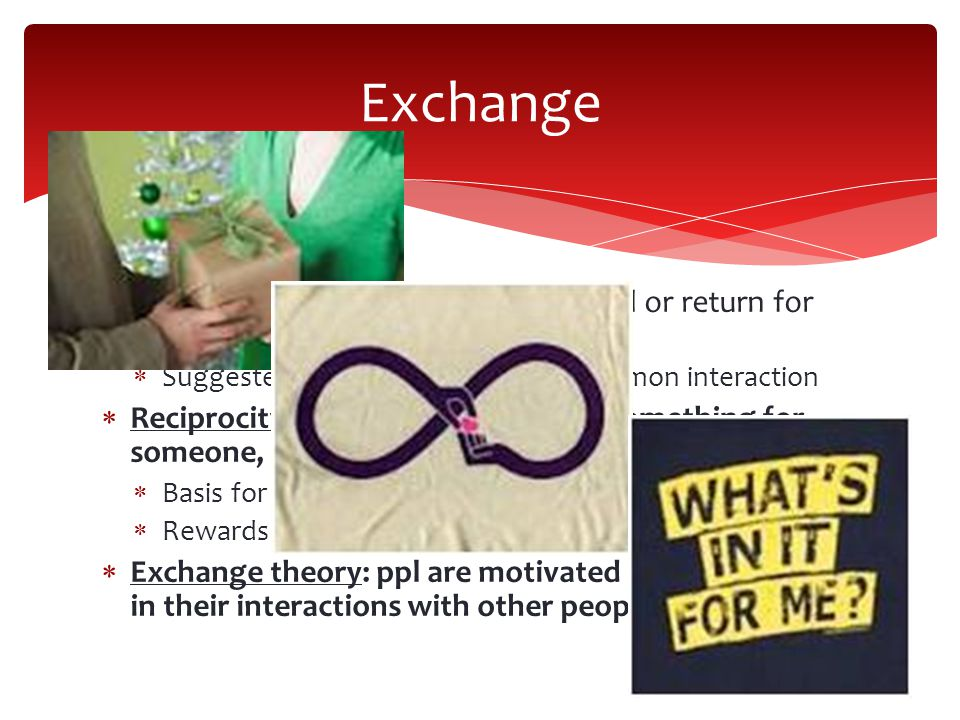 Exchange When we interact to receive a reward or return for our actions that is an exchange. Suggested as the most basic and common interaction.