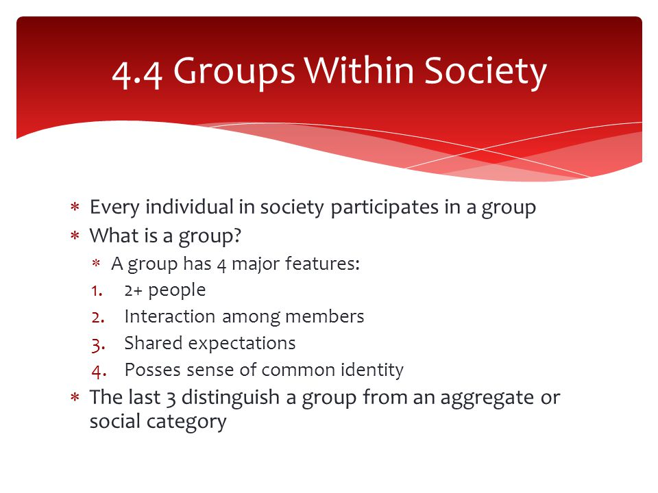 4.4 Groups Within Society Every individual in society participates in a group. What is a group A group has 4 major features: