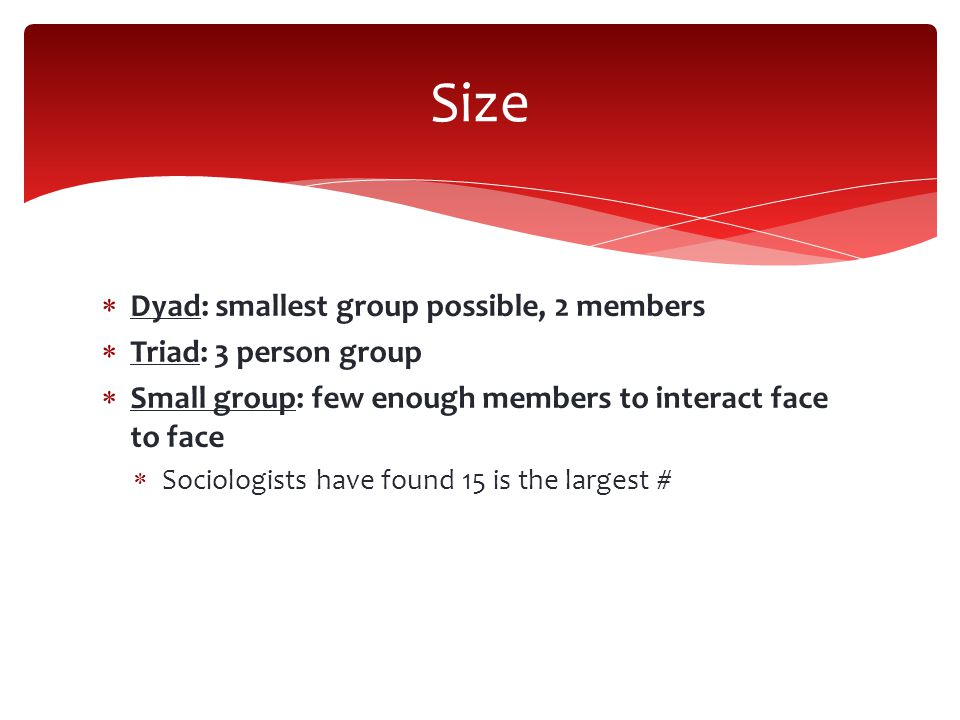 Size Dyad: smallest group possible, 2 members Triad: 3 person group