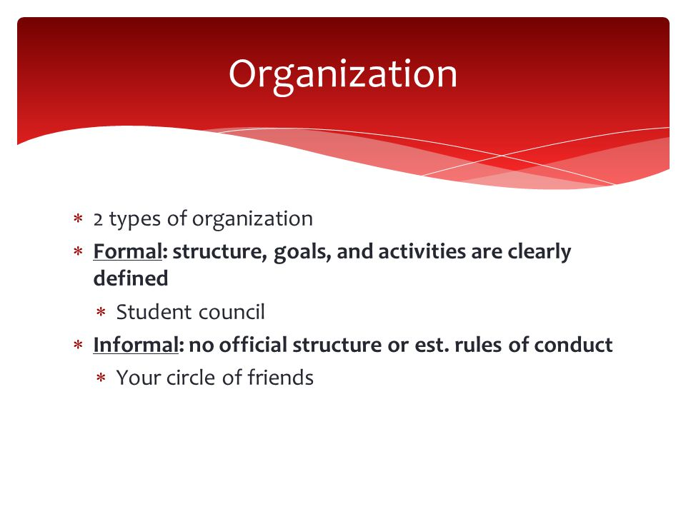 Organization 2 types of organization