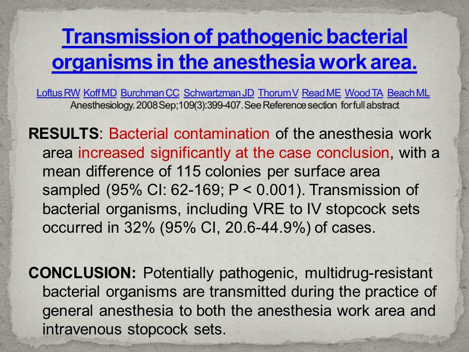Transmission of pathogenic bacterial organisms in the anesthesia work area. Loftus RW, Koff MD, Burchman CC, Schwartzman JD, Thorum V, Read ME, Wood TA, Beach ML. Anesthesiology. 2008 Sep;109(3):399-407. See Reference section for full abstract
