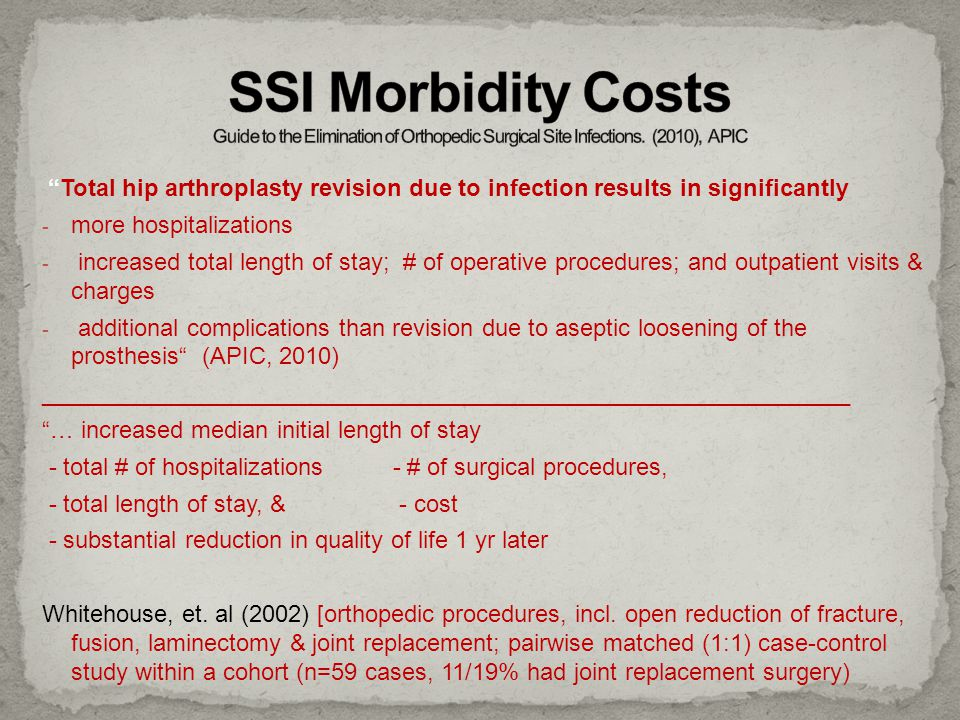SSI Morbidity Costs Guide to the Elimination of Orthopedic Surgical Site Infections. (2010), APIC