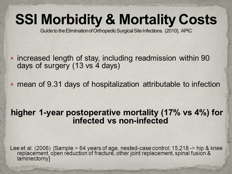 SSI Morbidity & Mortality Costs Guide to the Elimination of Orthopedic Surgical Site Infections. (2010), APIC