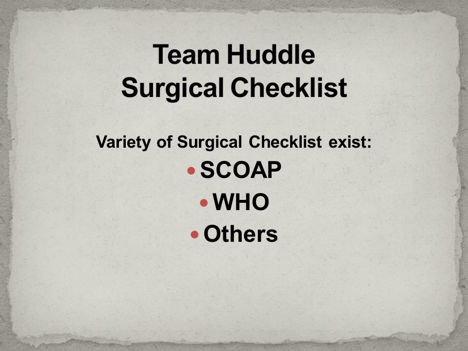 Team Huddle Surgical Checklist