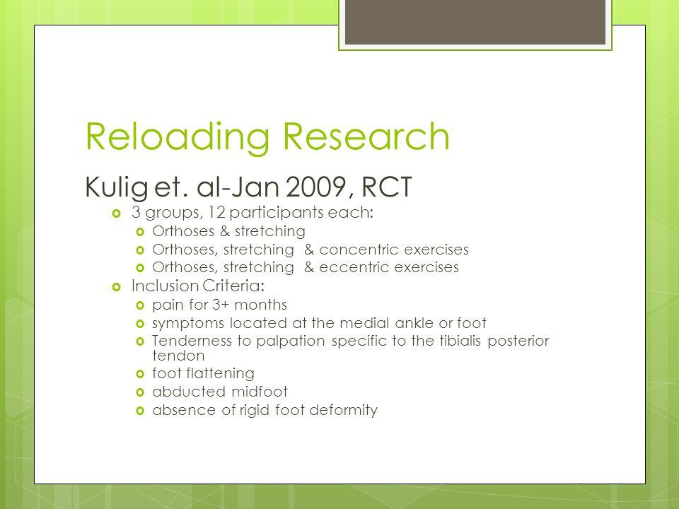 Reloading Research Kulig et. al-Jan 2009, RCT
