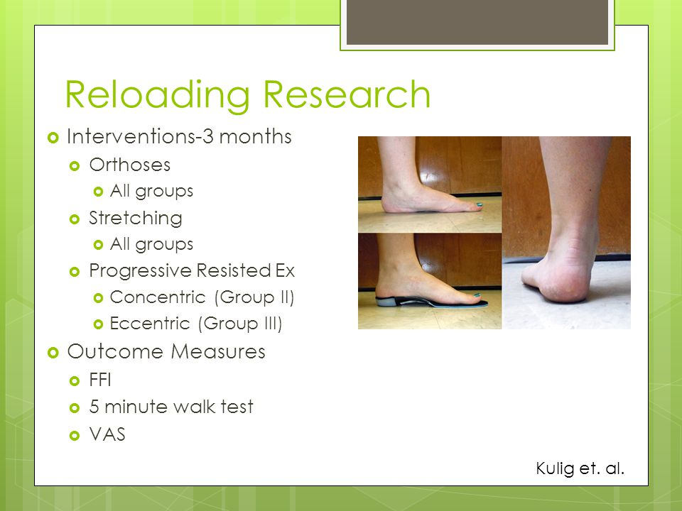 Reloading Research Interventions-3 months Outcome Measures Orthoses