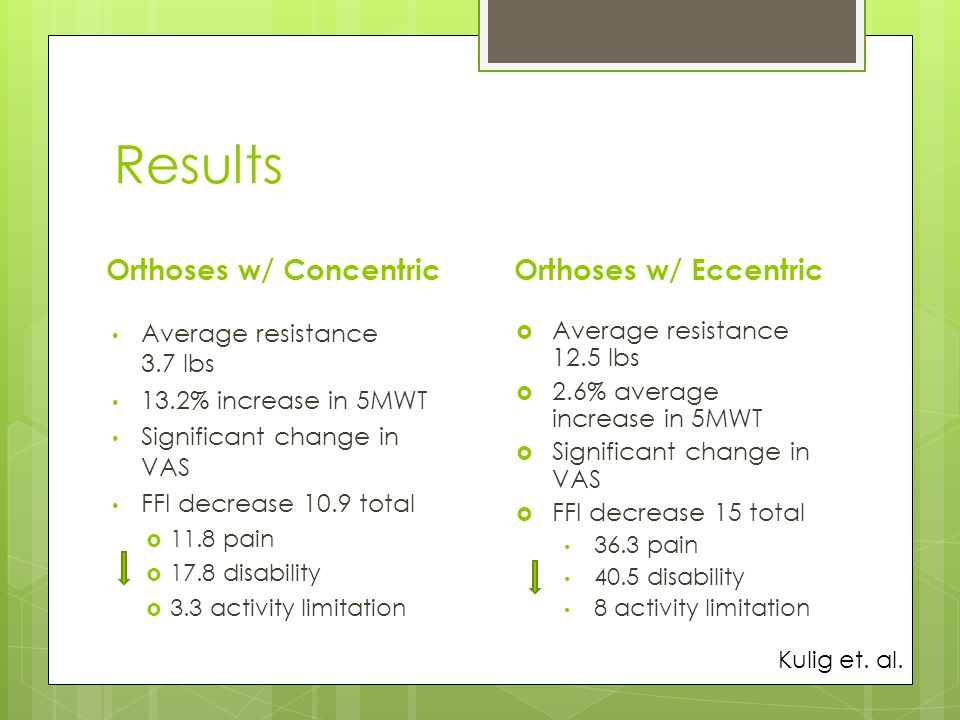 Results Orthoses w/ Concentric Orthoses w/ Eccentric
