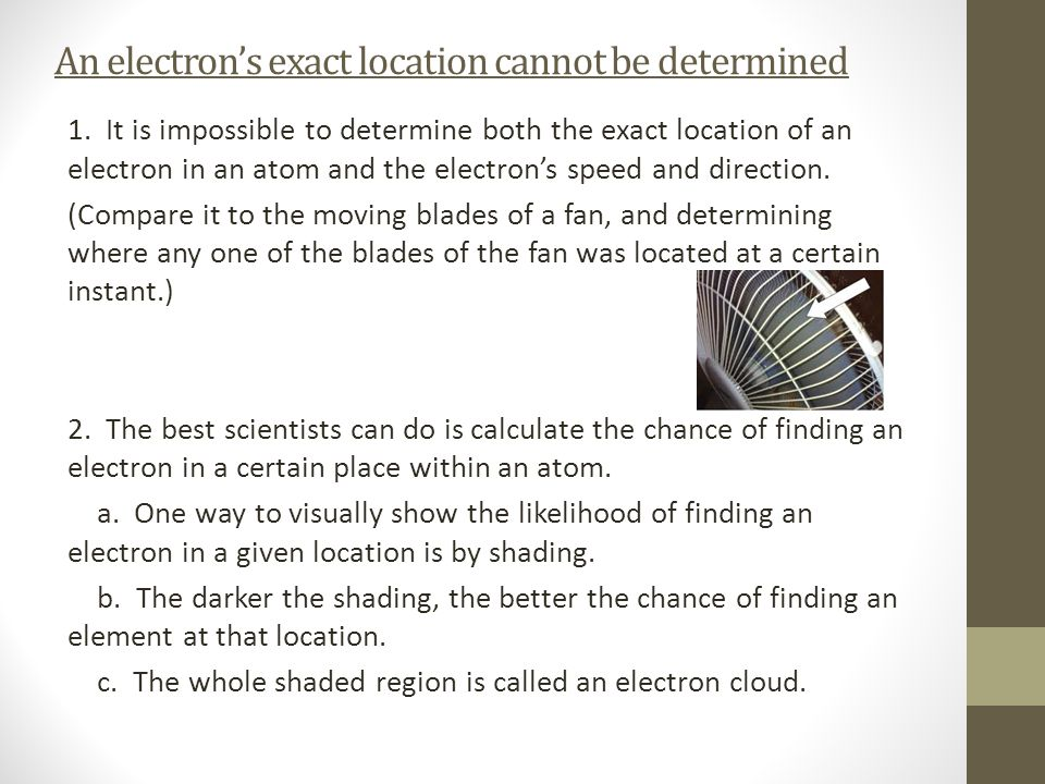 An electron's exact location cannot be determined