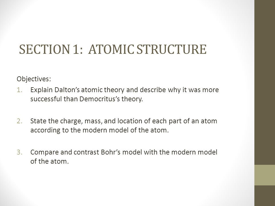 Section 1: Atomic structure